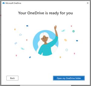 Skärmdump av OneDrive är redo