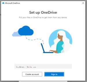 Skärmdump av första gången man öppnar OneDrive