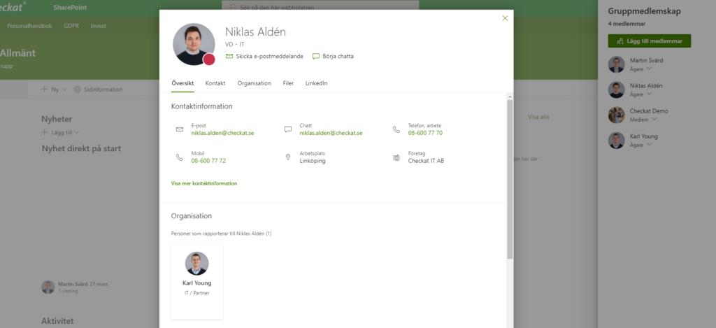 Skärmdump av en Användare i Office 365