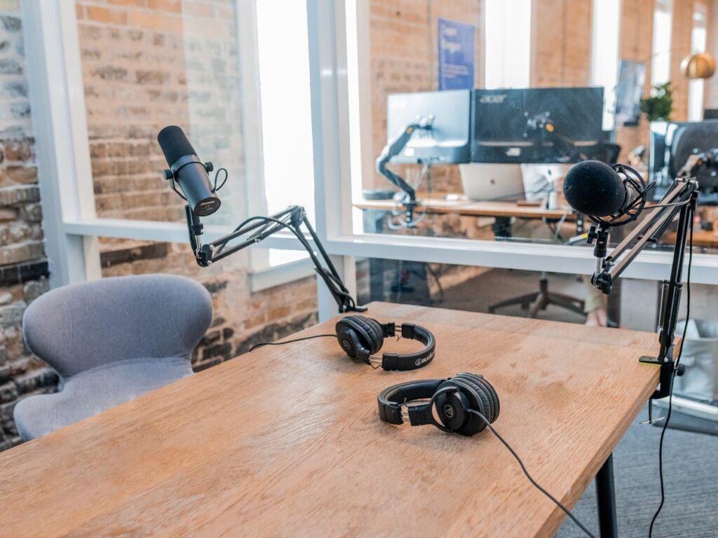 Bild på en studio för inspelning av webinars och podcasts