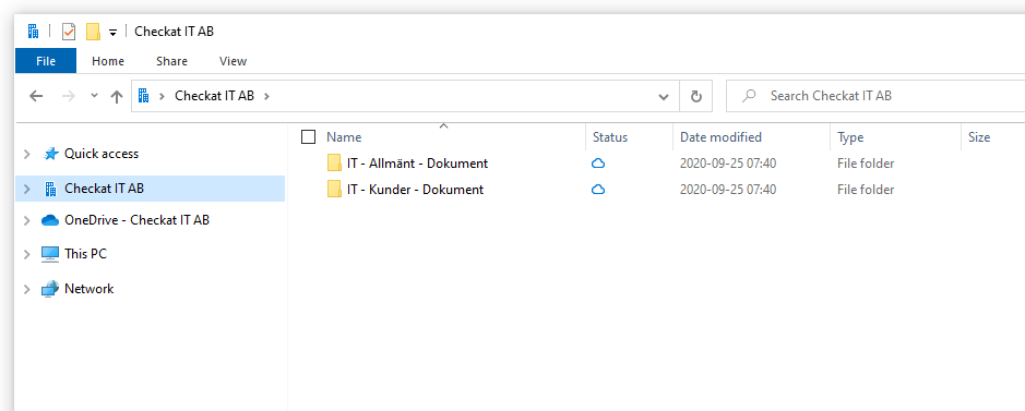 Skärmdump av synkade filer i OneDrive och Windows