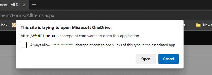 Skärmdump av fönstret som frågar om OneDrive får öppnas