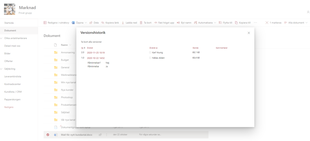 Skärmdump av versionshantering i Sharepoint